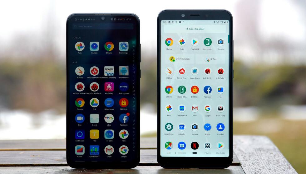 TO RIMELIGE: Begge disse telefonene koster under 2.500 kroner, og strengt tatt er den beste av dem god nok for de fleste av oss. Foto: Pål Joakim Pollen