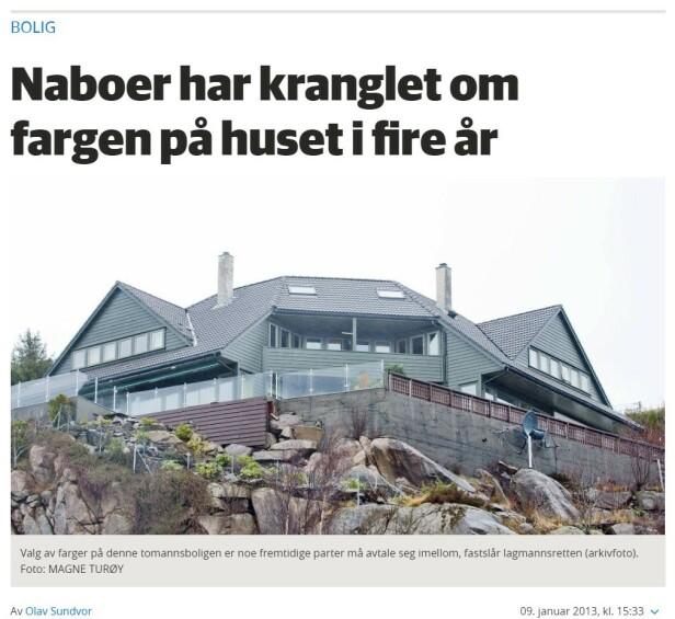 I RETTEN: Eierne i denne tomannsboligen har vært i flere rettsrunder om fargevalg. Foto: skjermdump/Bergensavisen.