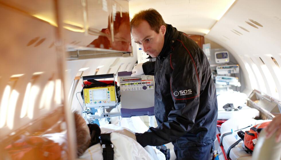 «KNOKKELEKSPRESSEN» ER KLAR FOR AVGANG: Forrige vinter hadde SOS International mer enn 1.700 skirelaterte skadesaker for nordiske reisende, og i år har de forhåndsbooket over 300 flyseter på relevante avganger fra flyplasser i nærheten av de store skadedestinasjonene i Alpene, for å kunne frakte skadde skandinaver hjem. I bransjen kalles dette for «knokkelekspressen». Foto: SOS International.