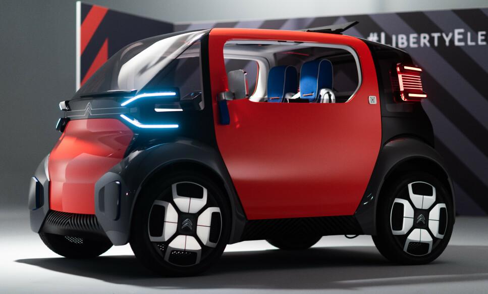 LITEN ELEKTRISK: Ami 1 er en bybil som er beregnet på unge uten førerkort for bil. Det betyr trolig en toppfart på bare 45 km/t. Foto: Citroën
