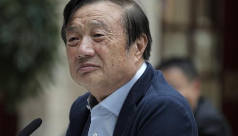 LEGGER HELLER NED: Huawei-sjef Ren Zhengfei sier han ville lagt ned selskapet om det ble oppdaget at noen i selskapet drev med spionasje. Foto: AP Photo/Vincent Yu