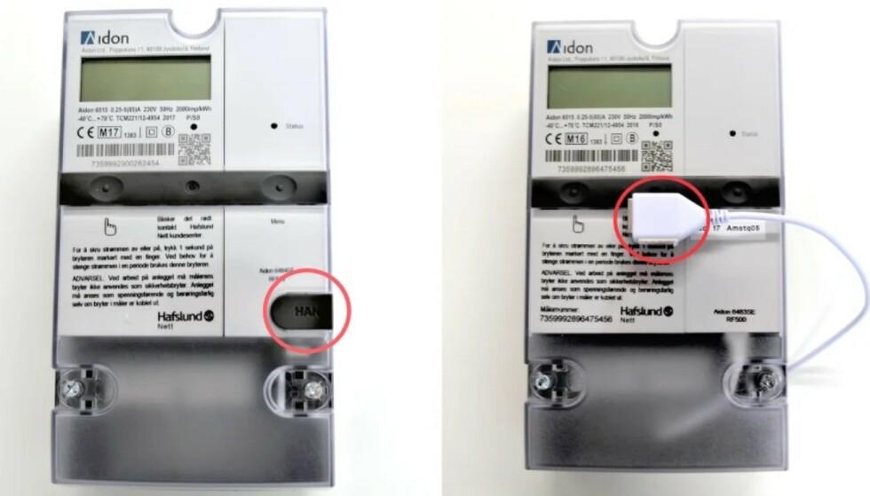 AKTIVERINGSTID: Flere nettselskap har begynt å åpne for å aktivere HAN-porten på din nyinstallerte automatiske strømmåler (AMS). Her ser du hvor porten er på to typer AMS. Foto: Hafslund Nett.