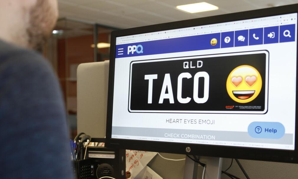 NYE BILSKILT: Via statens offisielle skiltleverandør, Personalized Plates Queensland (PPQ), har Queensland i Australia nå åpnet opp for emojier på bilskiltene. Foto: Øystein Fossum