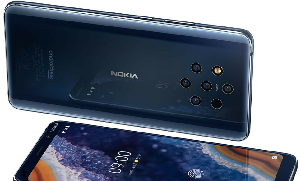 KA-KA-KA-KA-KAMERA: Nokia stiller med hele fem kameraer på baksiden av sin nye toppmodell, 9 Pureview. Foto: Nokia