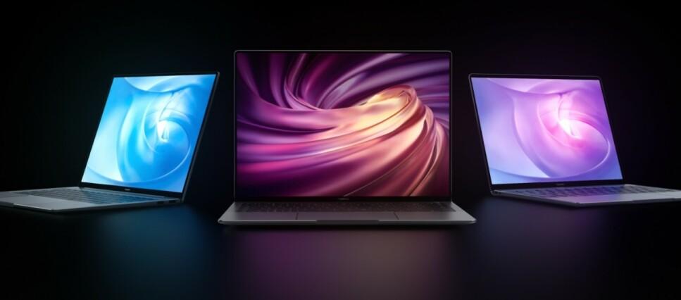 MATEBOOK: Her er årets PC-nyheter fra Huawei. Fra venstre: MateBook 14, MateBook X Pro og MateBook 13. Foto: Huawei
