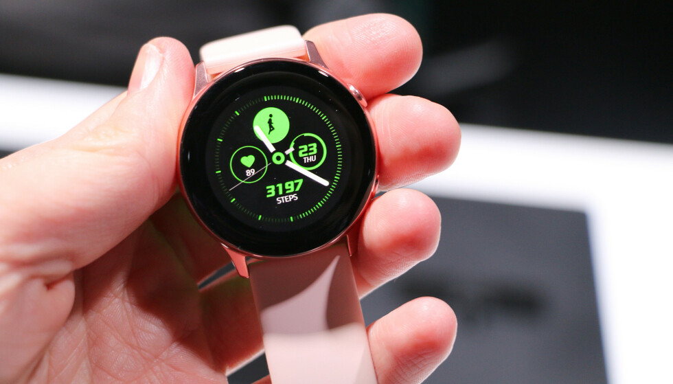 FOKUS PÅ TRENING: Det er mye treningsfunksjoner i Galaxy Watch Active, men de fleste av dem finner du i vanlige Galaxy Watch også. Foto: Kirsti Østvang