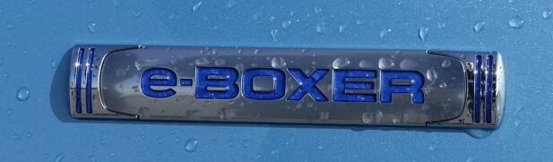 STOLT TRADISJON; Logoen illustrerer to stempler som går vannrett i hver sin retning, akkurat som i boxermotoren. Det eneste hintet om hybrid er den etablerte miljøvennlige blåfargen og bokstaven e. Foto: Rune M. Nesheim