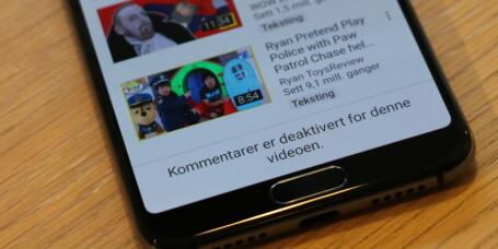 YouTube stenger kommentarfelt under barnevideoer