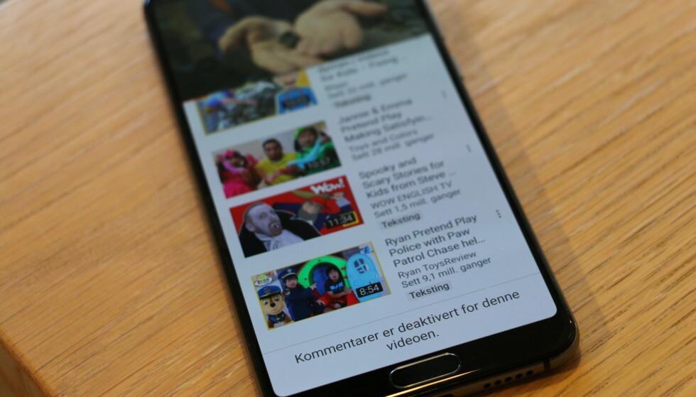 STENGES: YouTube stenger kommentarfelt under barnevideoer. Foto: Martin Kynningsrud Størbu