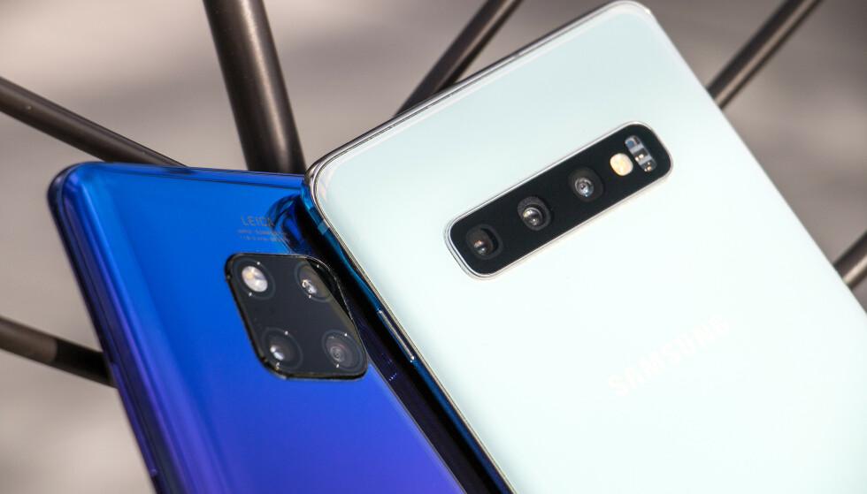 TO AV DE ALLER BESTE: Vi har testet kameraet i Samsungs nye Galaxy S10+ mot Huaweis toppmodell, Mate 20 Pro. Foto: Pål Joakim Pollen