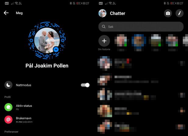 Med nattmodus blir Messenger mer behagelig å bruke i mørket.
