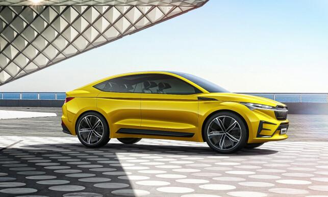 NEI, IKKE BMW: Om en viss likhet med BMW X4 er etterstrebet, vises ikke, men på databildet av konseptbilen Skoda iV fremstår den som slående. Men dette er altså en elbil, som skal få 50 mil rekkevidde og kunne lades til 80 prosent på en halvtime, uten at detaljene ennå er kjent. Illustrasjon: Skoda
