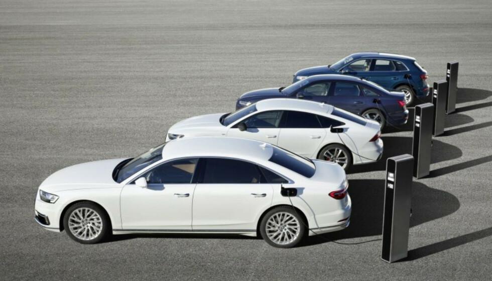 TFSI e: Audi kommer med ikke mindre enn fire nye ladbare hybridbiler: A8, A6, A7 Sportback og Q5. De nye ladbare bilene til Audi vil heretter hete TFSI e. Foto: Audi