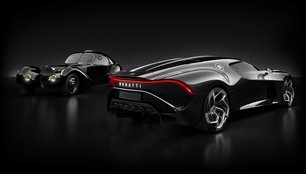 <strong>ARVEN OG DEN NYE TID:</strong> Til venstre står en 57 SC Atlantic som den som Jean Bugatti eide og som har inspirert designdetaljer i la Voiture Noire, til høyre. Foto: Bugatti