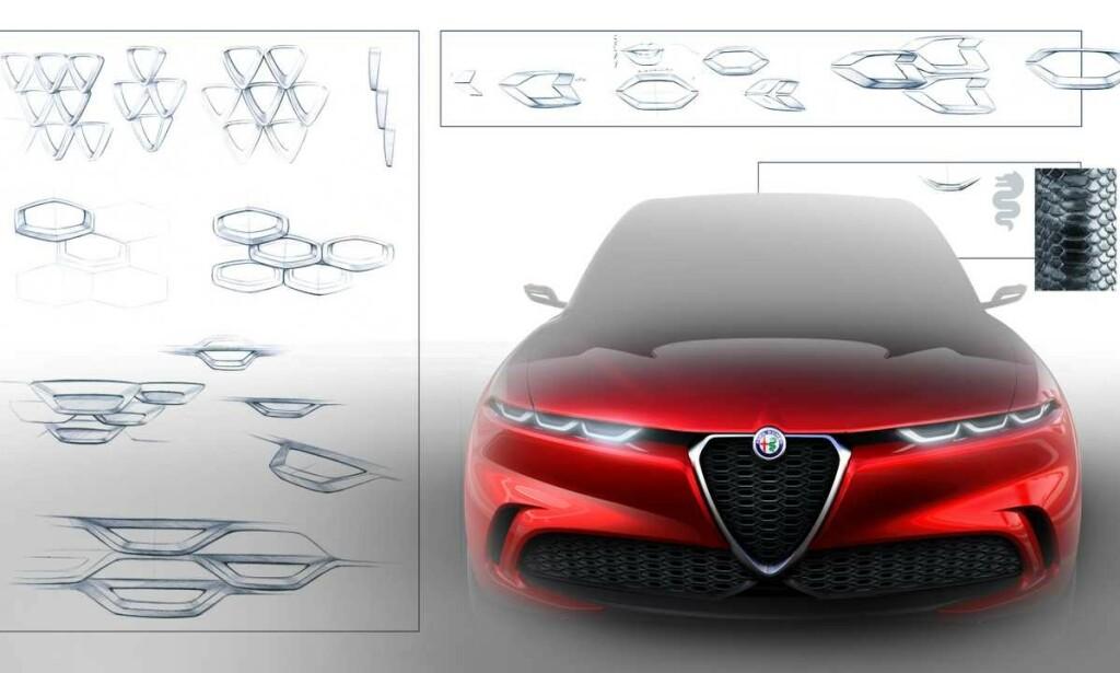TRADISJON: Alfa har gått mange retninger på design oppigjennom, så det er mange inspirasjonskilder å velge mellom. Vi elsker fronten med de smale lyktene, som på mange måter trekker den videre i den retning Brera og 159 var på vei, men som ble avbrutt av alle andre modeller siden. Foto: Alfa Romeo