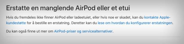Mister du en Apple-ørepropp, er det enkelt å få en ny