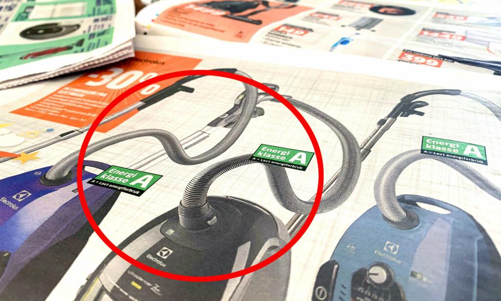 FORBYR ENERGIMERKING: EU forbyr energimerking av støvsugere, etter at EU-domstolen erklærte merkingen ugyldig med virkning fra 18. januar 2019. Dette gjelder også i Norge, og omfatter både merking i butikk, på internett og i reklame. Foto: Kristin Sørdal