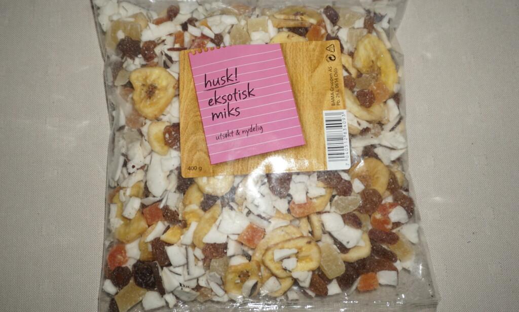 EKSOTISK MIKS: Det er påvist salmonella i produktet «Eksotisk Miks» fra Bama, opplyser Mattilsynet. Foto: Mattilsynet