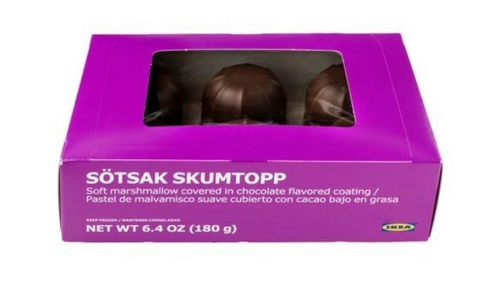 TILBAKEKALLES: Det er skumtopper av typen Sötsak Skumtopp som tilbakekalles av Ikea. Foto: Ikea
