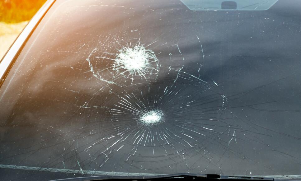STEINSPRUT: Små skader på frontruta kan repareres gratis, om du har kasko eller delkasko på bilen din. Er skaden så ille som her, må ruta byttes. De fleste forsikringsselskap tar da en egenandel på 2.000 kroner. Foto: NTB Scanpix