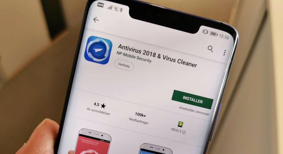 OVER HALVPARTEN MED STRYKKARAKTER: Selv med 4,5 stjerner i app-butikken fanget denne appen opp mindre enn 30 prosent av truslene i en stor antivirustest. Foto: Pål Joakim Pollen