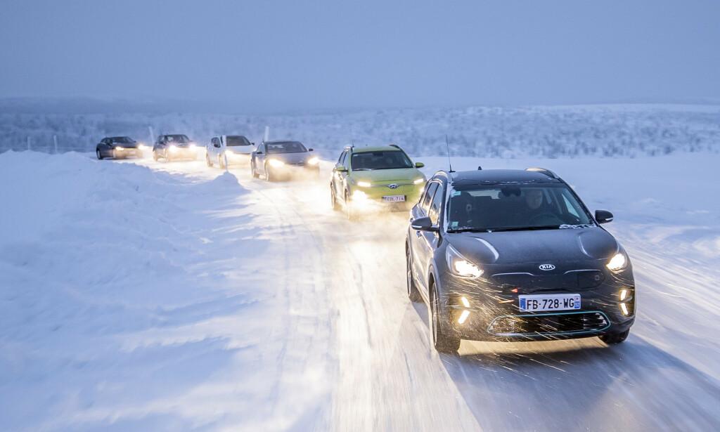 NORSK VINTER: Vi har testet de seks elbilene under landeveiskjøring. Temperaturen varierte fra minus 6 til minus 19 grader. Foto: Markus Pentikainen.