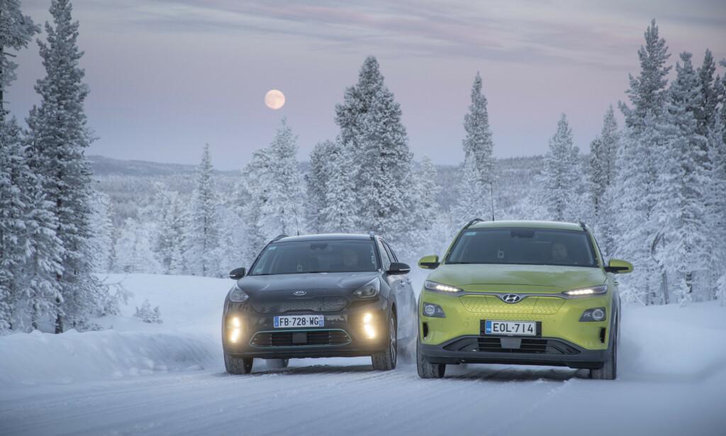 LAVEST FORBRUK: I testen er det Hyundai Kona og Kia e-Niro som har det laveste forbruket.