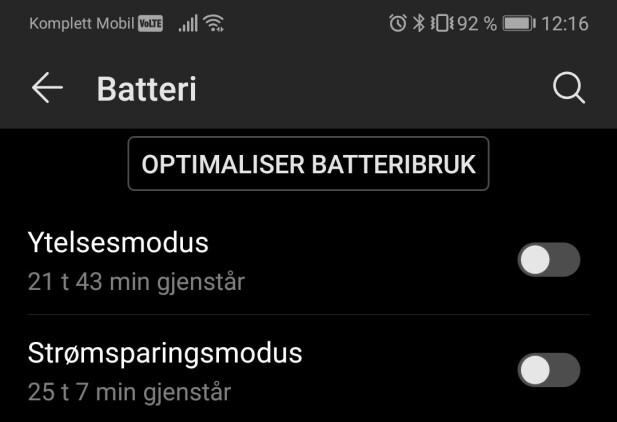 Nattmodus på en Android-enhet.
