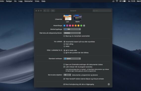 macOS Mojave har støtte for både lyst og mørkt tema.