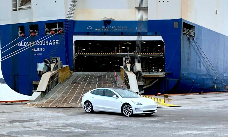 <strong>NY REKORD:</strong> Tesla Model 3 har satt ny norgesrekord i antall registrerte biler på én måned. Ennå er det elleve dager igjen av månedenpå å forbedre rekorden. Foto: Ingebjørg Iversen