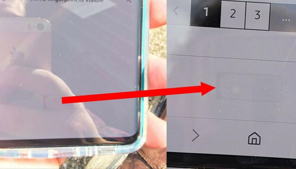 SKJERMTRØBBEL? Flere nye Galaxy S10-eiere opplever at den nye fingersensoren lager en skygge i skjermen. Det skal være sånn, påstår Samsung. Foto: Privat
