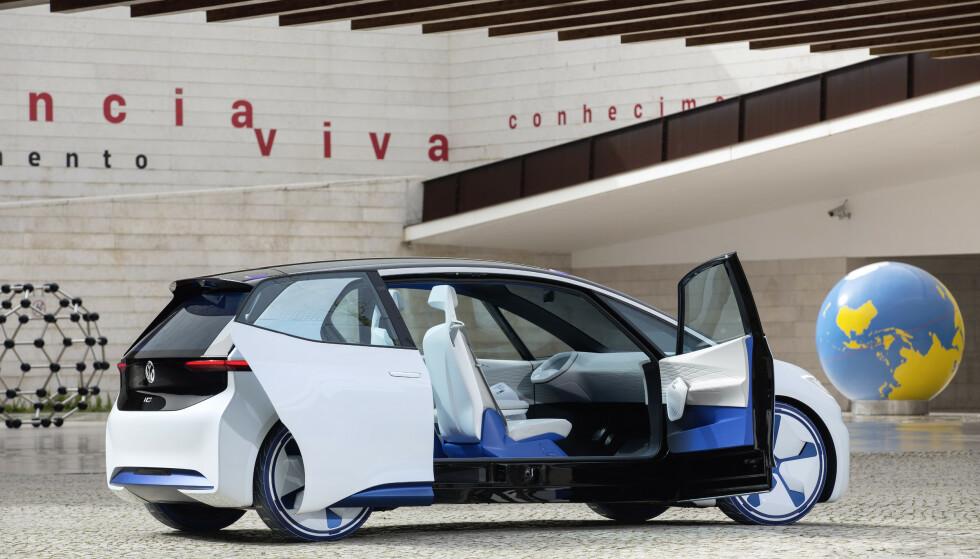 SPENNENDE: Foreløpig har ikke VW vist den endelige utgaven av I.D. Den vil ganske sikkert ikke ha mer tradisjonelle bakdører enn det som ble vist på denne prototypen. Foto: VW