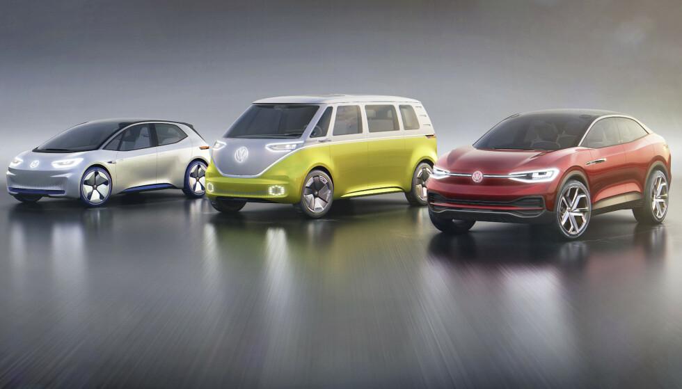 FLERE BILER: VW har allerede bekreftet at de skal bygge både en minibuss og en SUV på den samme I.D. plattformen. SUV-en vises etter det vi vet allerede før nyttår. Foto: VW