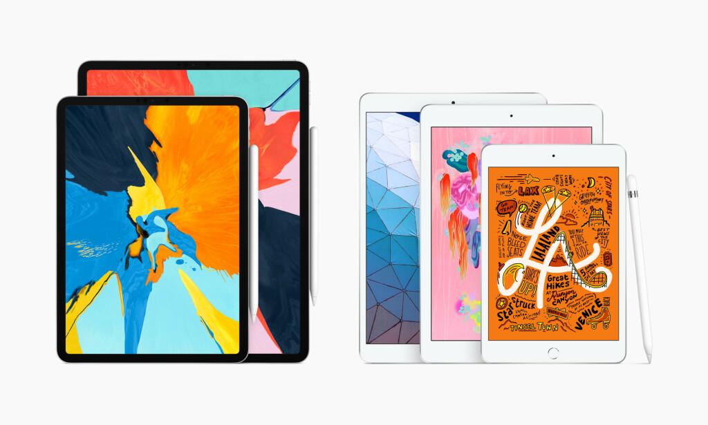 IPAD-FAMILIEN: Våren 2019 har Apple fem ulike modeller i iPad-sortimentet i ulike former og størrelser. Foto: Apple