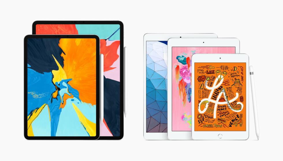 <strong>IPAD-FAMILIEN:</strong> Våren 2019 har Apple fem ulike modeller i iPad-sortimentet i ulike former og størrelser. Foto: Apple
