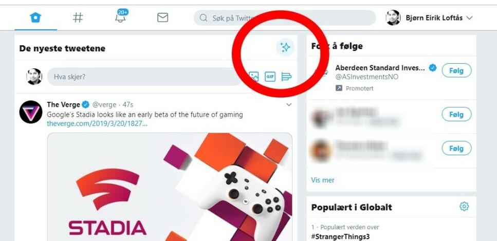 KNAPPEN SOM ENDRER ALT: Twitter.com får ny design og ny funksjonalitet. Du kan prøve nye Twitter allerede nå. Skjermdump: Dinside