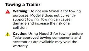 HINTER OM HENGERFESTE: I instruksjons-manualen til Tesla Model 3 står det at bilen «foreløpig ikke støtter tauing» og at at man ikke kan taue «uten Tesla-godkjente komponenter». Skjermdump: Automotorsport.se