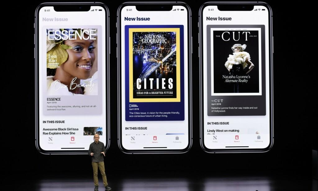 NYHETSABONNEMENT: Apple har lansert News+, en abonnementstjeneste for aviser og magasiner. Foto: NTB Scanpix
