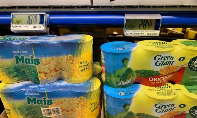 KILOPRISFORSKJELL: På hermetisk mais er det stor prisforskjell per kilo. Foto: Eilin Lindvoll.
