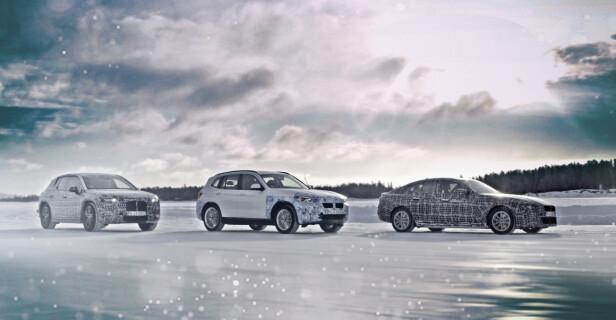 KOMMENDE ELBILER FRA BMW: Fra høyre ser vi sedanen i4, den mellomstore SUV-en iX3 og det som skal bli flaggskipet, foreløpig under navnet iNext. Foto: BMW