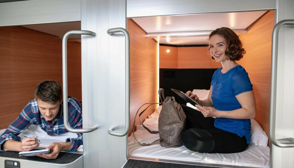 NYE MINI-LUGARER HOS STENA LINE: Stena Line introduserer japanske «sovekapsler» på en strekning mellom Sverige og Tyskland. De utelukker ikke at dette vil komme også på flere av fergeselskapets ferger. Foto: Stena Line