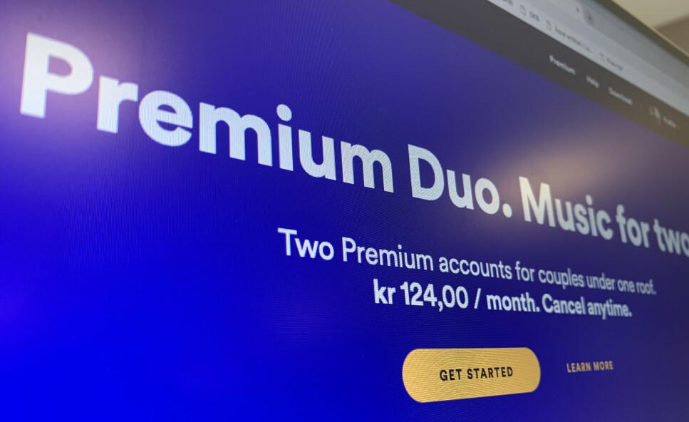 PAR-ABONNEMENT: I stedet for å bruke samme Spotify-konto, kan det snart bli mulig for bare to personer å ha et felles abonnement. Foto: Kirsti Østvang