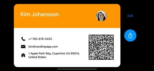 BUSINESSKORT: Vri mobilen på siden, og du får opp din egen kontaktinfo som et businesskort.
