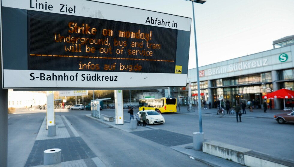 STORSTREIK: Det meste av busser, trikker og t-baner står bom stille i Berlin i dag på grunn av streik. Foto: Odd Andersen / AFP / NTB Scanpix