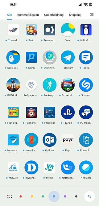 FARGEFILTER: App-skuffen lar deg filtrere på farger (i bunnen), slik at de blir lettere å finne tilbake appen du er på jakt etter. Skjermbilde: Pål Joakim Pollen