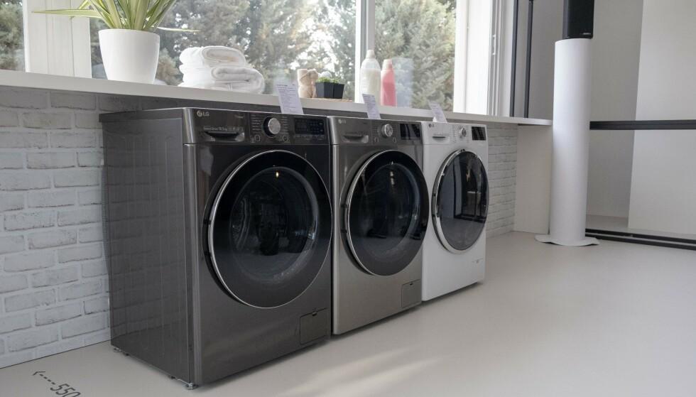 LG har også vanlige vaskemaskiner, for dem som foretrekker det. Foto: Martin Kynningsrud Størbu