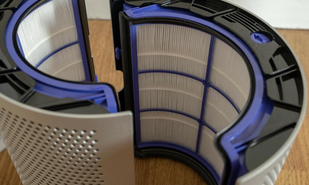 Filterne sørger for at det er frisk luft som strømmer ut fra Dyson Pure Hot+Cool. Foto: Martin Kynningsrud Størbu