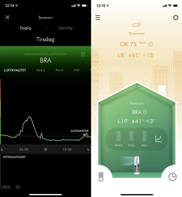 Appen viser luftkvalitet både innendørs og ute. Foto: skjermdump