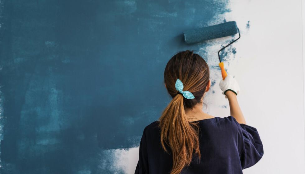 RULLE ELLER PENSEL?: Hvilke redskap du skal bruke når du maler veggene innendørs, og hvordan du finner ut hvor mye maling du trenger får du svar på i Dinsides maleguide. Foto: Shutterstock/NTB Scanpix.