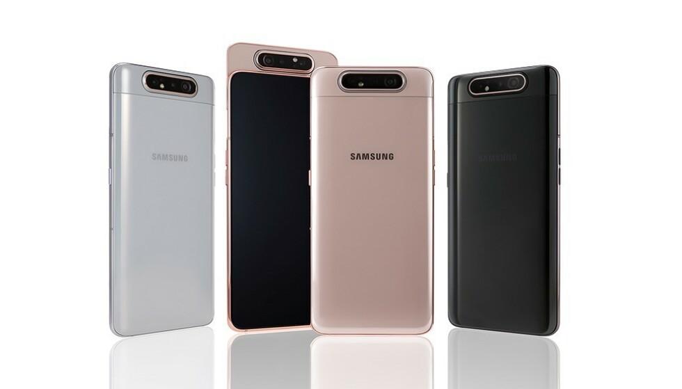 ETT KAMERA: Samsungs nye mellomklasse-flaggskip, Galaxy A80, har bare ett kamera. Foto: Samsung